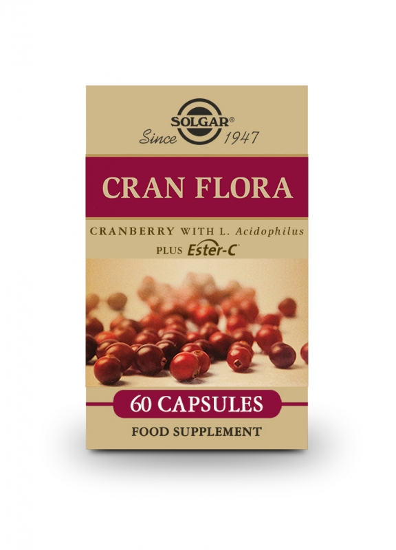 Produkty - Solgar CRAN FLORA - brusinky s probiotiky plus Ester-C 60 cps