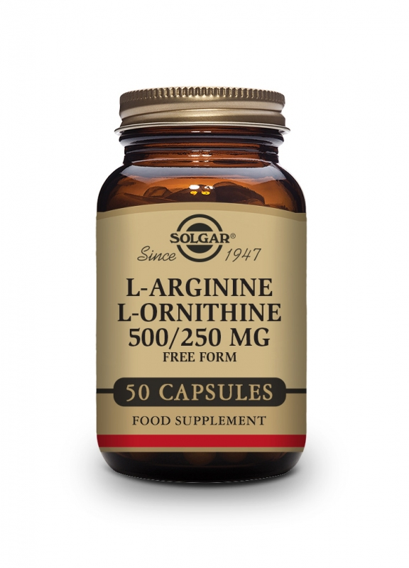Produkty - Solgar L-Arginin 500mg - L-Ornitin 250mg 50 cps